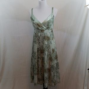 Green floral spaghetti strap summer dress